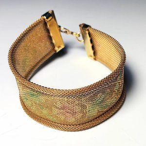 Vintage 50s Gold Tone Metal Mesh Cuff Bracelet